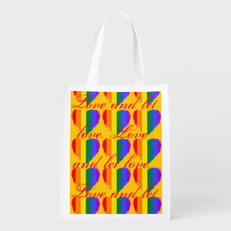 Love and let love rainbow hearts pattern on yellow reusable grocery bag