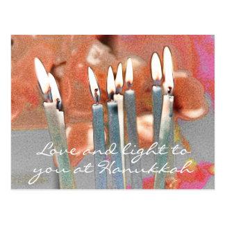 Love and Light at Hanukkah Abstract Postcard