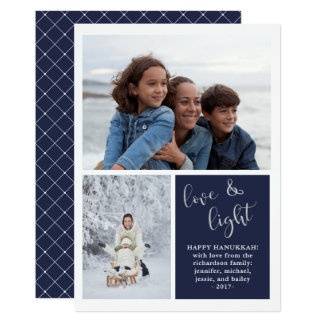 Love and Light | Two Photo Blue Hanukkah Card