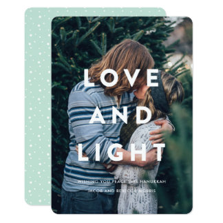 Love and Light | Typography Overlay Hanukkah Photo Card