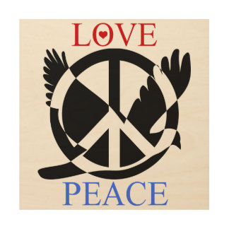 Love And Peace 2 Wood Print
