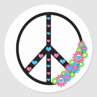 Love and Peace Classic Round Sticker