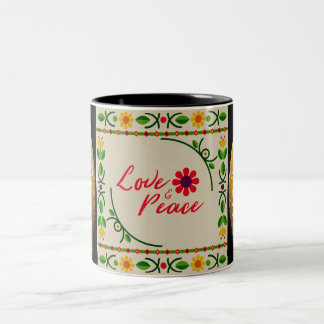 Love and Peace Floral Two Tone Mug