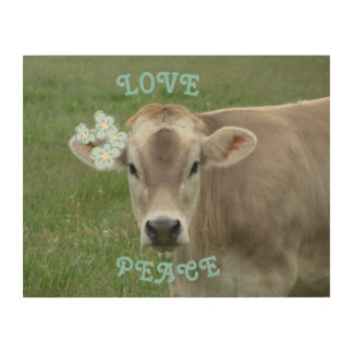 Love and Peace Flower Cow Wood Prints