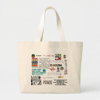 love and peace large tote bag