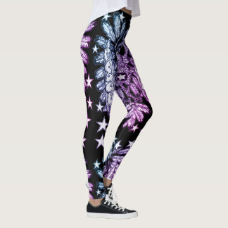 Love and Peace, retro hot rod biker style Leggings