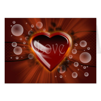 Love and romance, vector heart with bubbles linear card