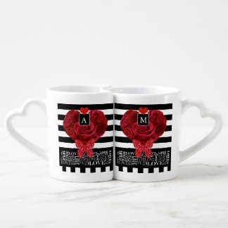 Love and Roses Blackboard Style Mugs