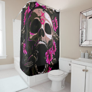 love and roses skull with bird shower curtain