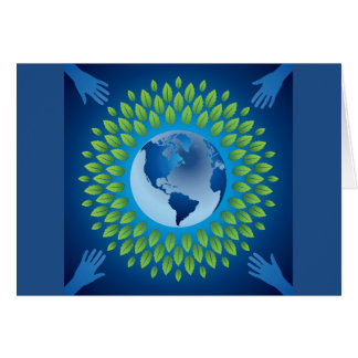 Love and save mother earth, green healthy earth cards
