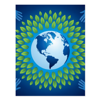 Love and save mother earth, green healthy earth post cards