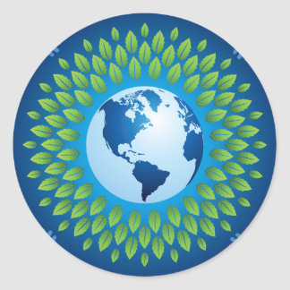 Love and save mother earth, green healthy earth sticker