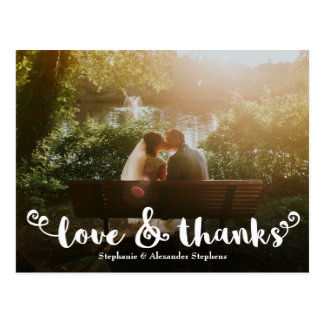 Love and Thanks Brush Wedding Photo Thank You Card