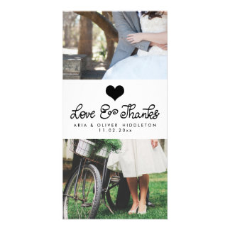Love And Thanks Cute Heart Typography Wedding Customized Photo Card