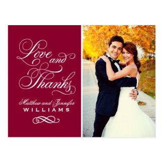 Love and Thanks | Dark Red Wedding Thank You Postcard
