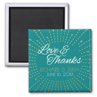 Love and Thanks Gold Teal Wedding Favor Thank You Magnet