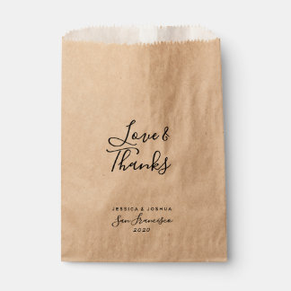 Love and Thanks Hand Writing Modern Wedding Treat Favour Bag