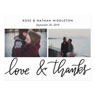Love And Thanks Handwritten Two Photos Postcard