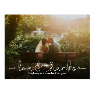 Love and Thanks Heart Wedding Photo Thank You Card