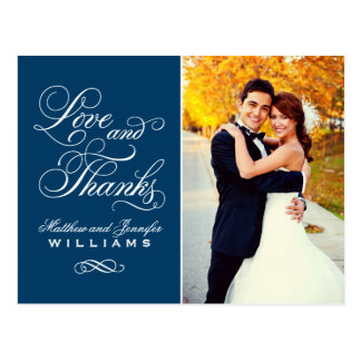 Love and Thanks   Navy Blue Wedding Thank You Postcard