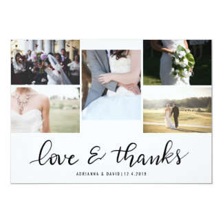 Love And Thanks Script Five Couple Photo Wedding Card