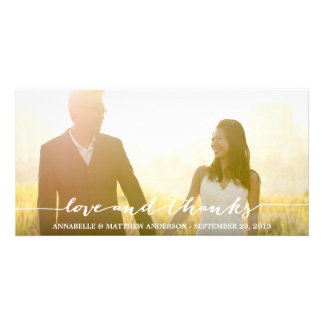 Love and Thanks Script Overlay Wedding Card