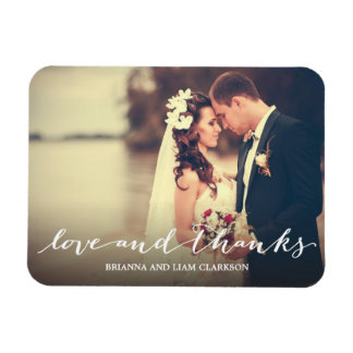 Love and Thanks Simple Script Full Bleed Photo Rectangular Photo Magnet