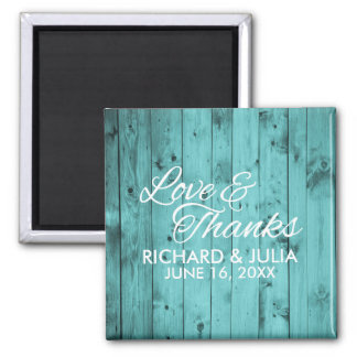 Love and Thanks Teal Wood Wedding Favor Thank You Magnet