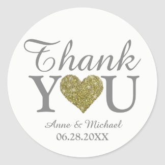 love and thanks wedding favor white classic round sticker