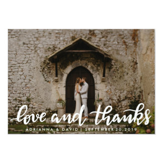 Love And Thanks White Script Couple Photo Card