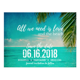 Love and the Beach Wedding Save the Date Postcard