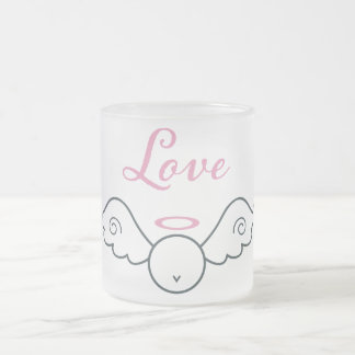 Love Angel Frosted Glass Mug