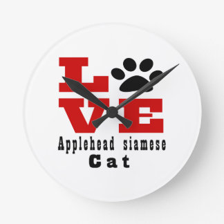 Love Applehead siamese Cat Designes Wall Clock
