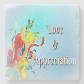 Love & Appreciation Power Words on Marble Coaster
