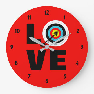 Love Archery Sport Target Board Cool Graphic Large Clock
