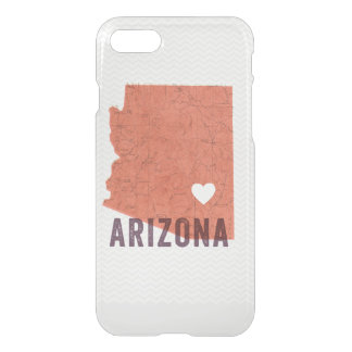Love Arizona Topographic Coral Map and White Heart iPhone 7 Case