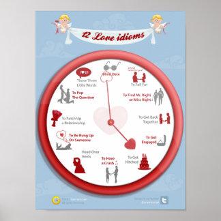 Love around the clock: 12 love idioms poster