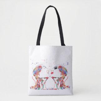 Love art, face anatomy, brain anatomy, medical art tote bag