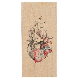 Love art merged anatomical hearts with flowers wood USB 2.0 flash drive