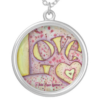 Love Art Word Painting Silver Necklace with Custom