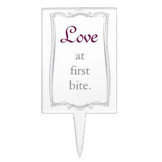 Love at first bite...Elegant Silver Cake Pick. Cake Pick