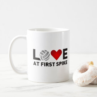 Love At First Spike - Red Love Volleyball Coffee Mug
