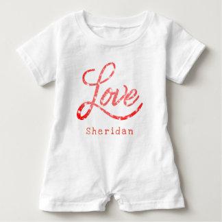 Love Baby | Name Pink and White Glitter Stars | Baby Bodysuit