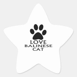 LOVE BALINESE CAT DESIGNS STAR STICKER