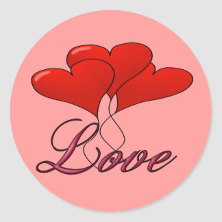 Love Balloon Float Round Stickers