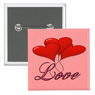 Love Balloon Float Square Button