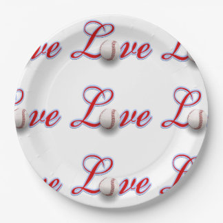 Love Baseball For The Love Of The Game Paper Plate