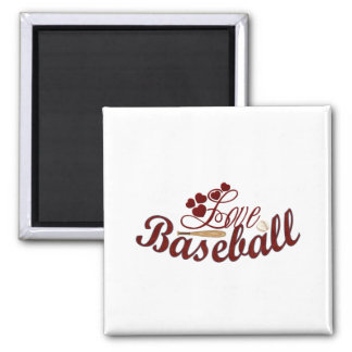Love Baseball Square Magnet