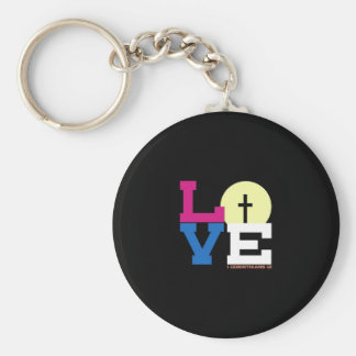 Love Basic Round Button Key Ring