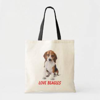 Love Beagles Puppy Dog Canvas Totebag